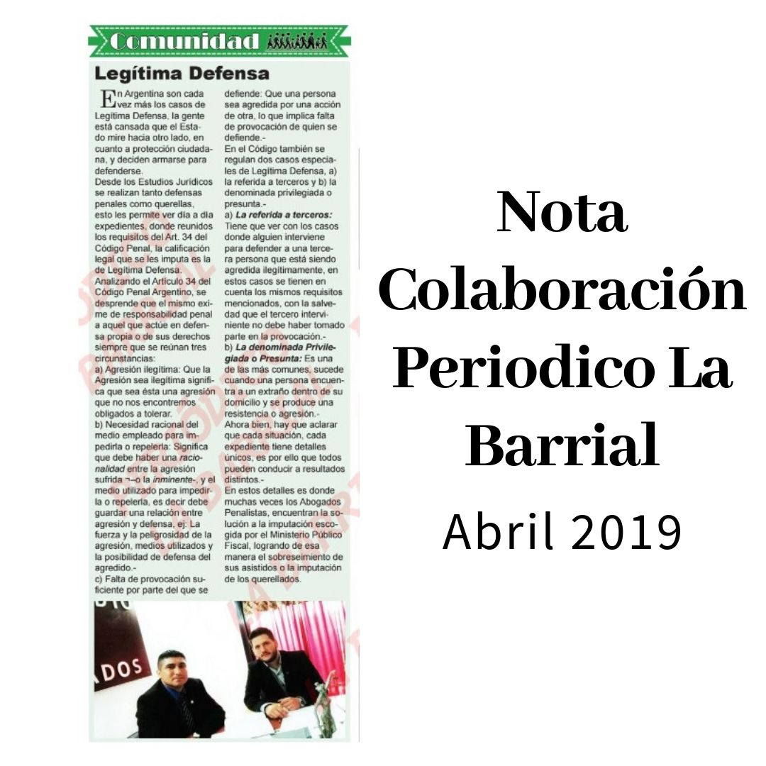 Nota LA BARRIAL Legítima Defensa web